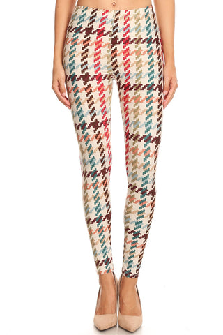 Women's 3X 5X Colorful Houndstooth Pattern Printed Leggings