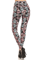 Women's Regular Black Sugar Skull Pattern Printed Leggings