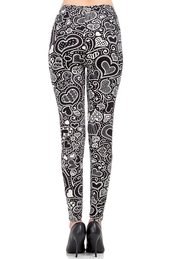 Women's Regular Valentine Abstract Heart Pattern Printed Leggings