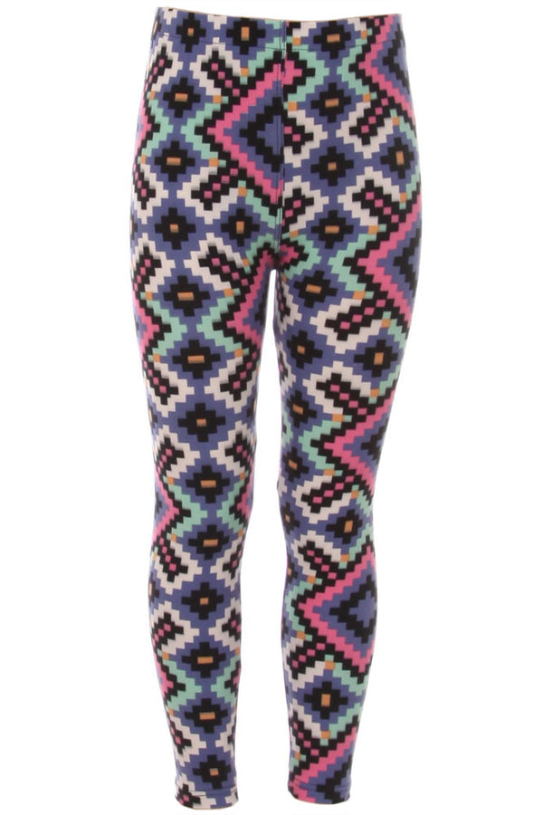 Kid's colorful pixelated Diamond Pattern Printed Leggings