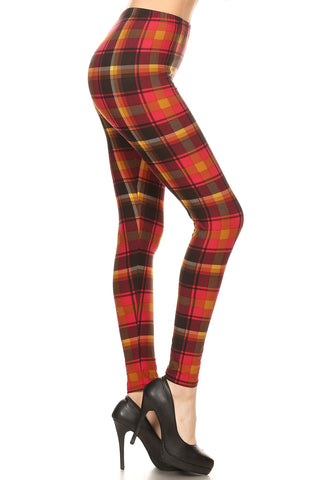 Women's Plus Red Mustard Plaid Pattern Printed Leggings