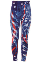 Kid's Colorful 4th of July Flying Star Pattern Printed Leggings