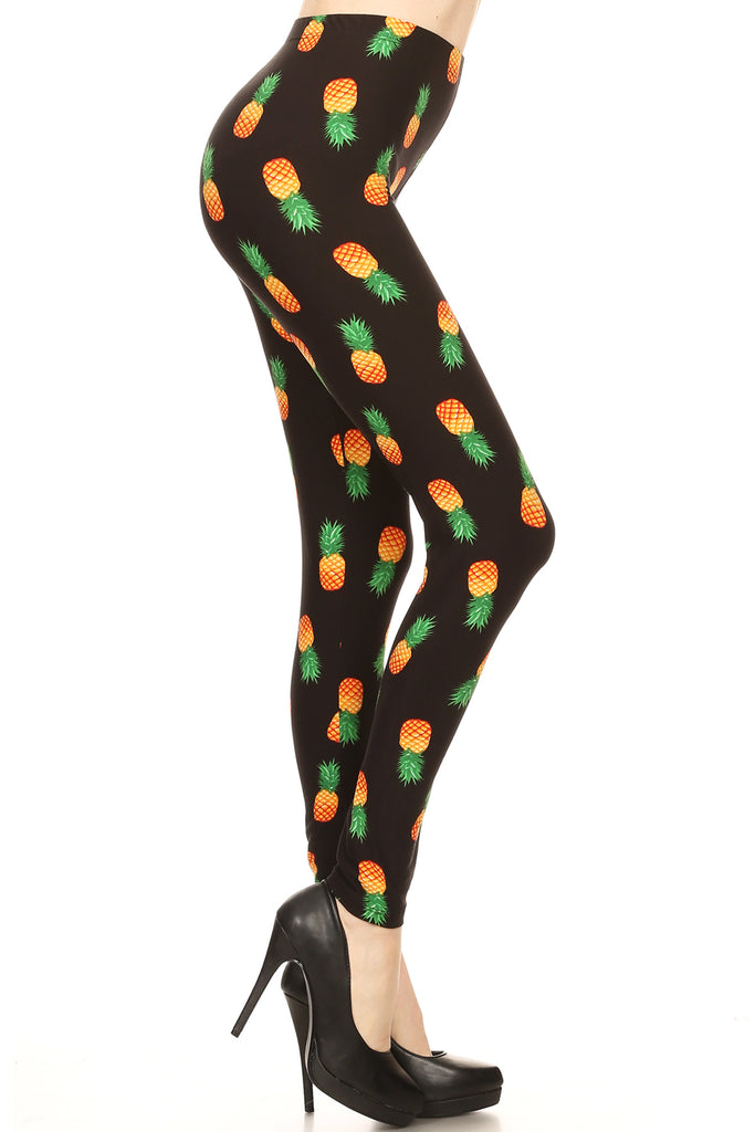 Women's PLUS Yellow Green Pineapple Pattern Printed Leggings