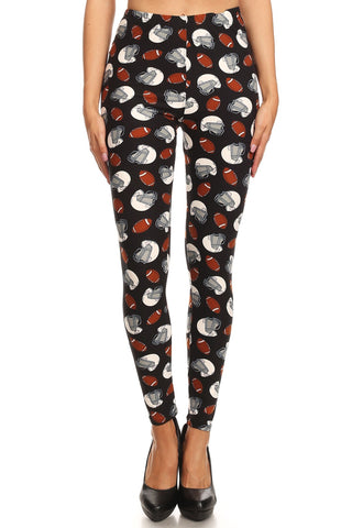Women's Plus Football Helmet Pattern Printed Leggings