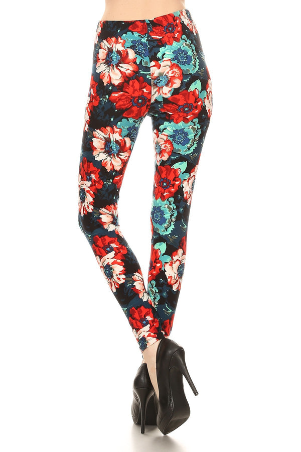 Women's 3 X 5X Red Blue Rose Pattern Printed Leggings