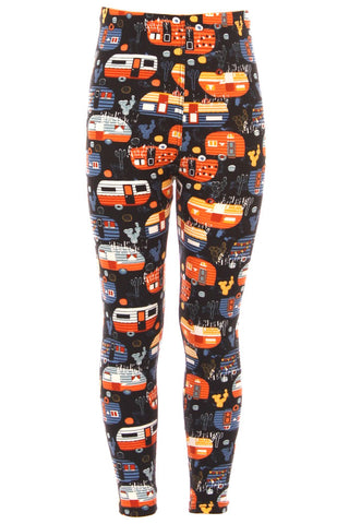 Kid's Colorful Camper Van Camping Pattern Printed Leggings