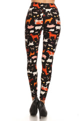 Women's 3X 5X Animal Cow Lamb Pattern Printed Leggings