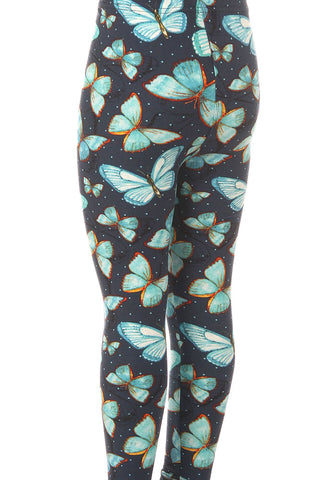 Kid's Colorful Butterfly Dot Outline Pattern Printed Leggings