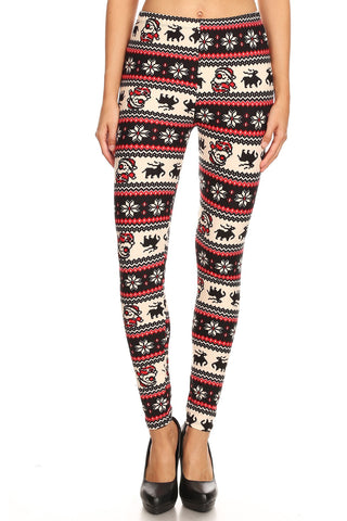 Women's Regular Colorful Santa Reindeer Fair Isle Pattern Printed Leggings
