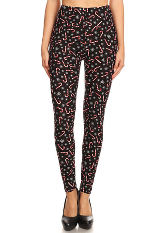 Women's Plus Candy Cane Snowflake Pattern Printed Leggings