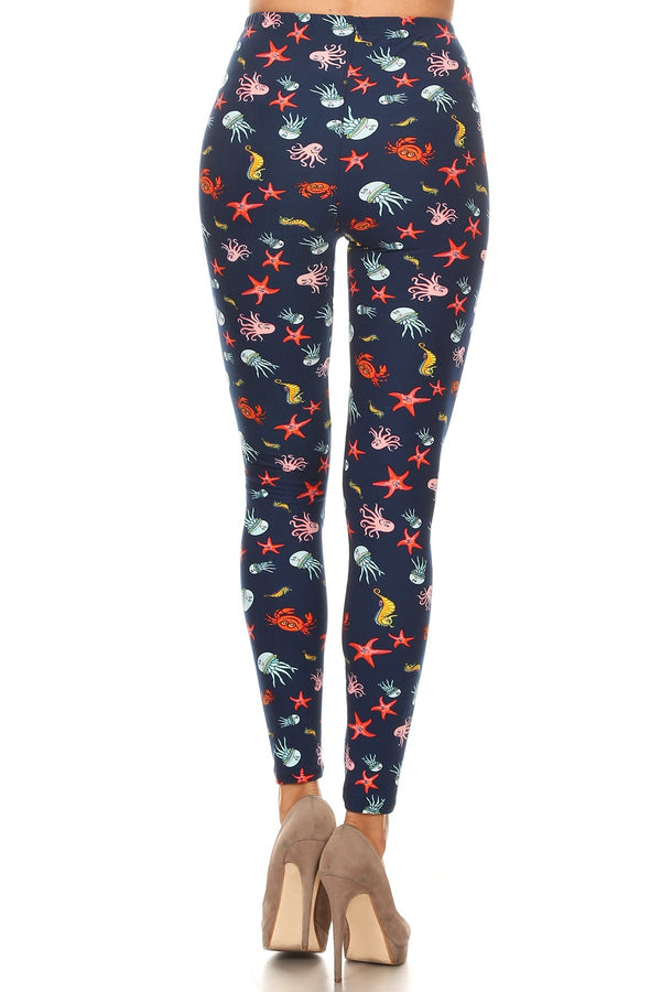 Women's Plus Jellyfish Starfish Sea Horse Pattern Printed Leggings