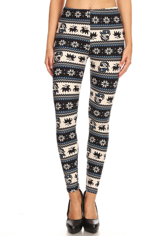 Women's Plus B&W Santa Reindeer Fair Isle Pattern Printed Leggings