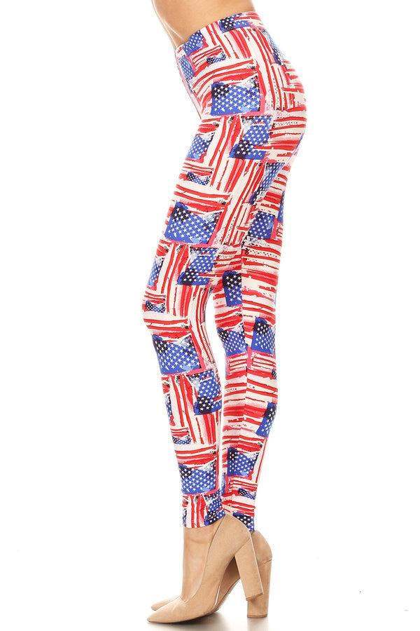 Women's 3X 5X American Flag Distressed Look Pattern Print Leggings