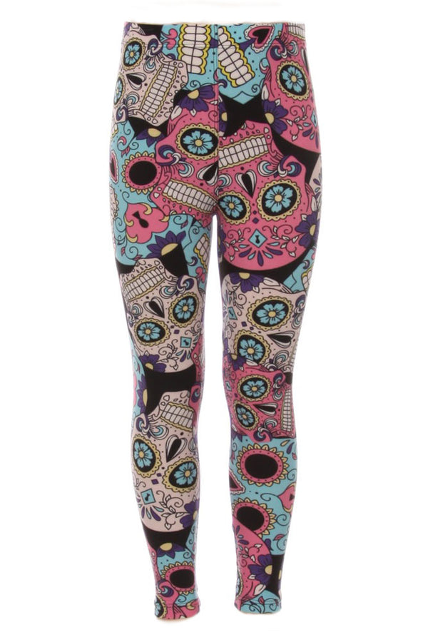 Kid's Flower Eyes Robot Sugar Skulls Print Leggings