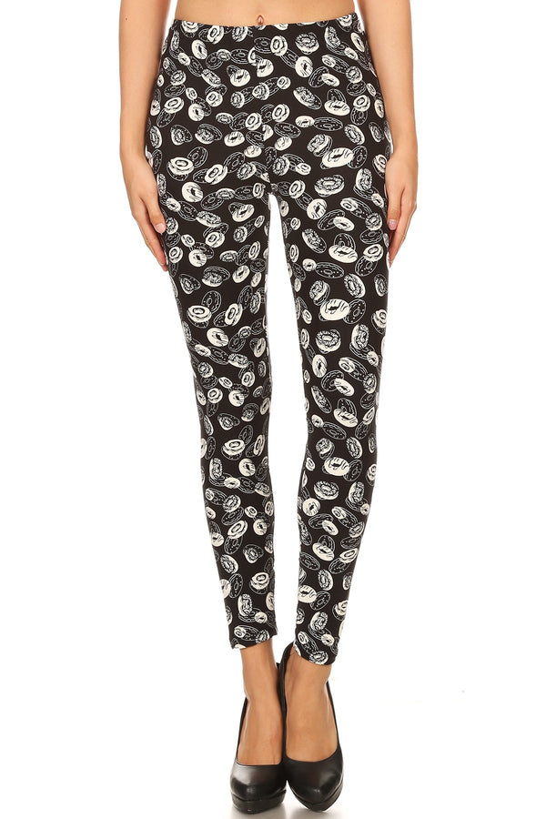 Women's Regular B&W Donuts Food Pattern Printed Leggings