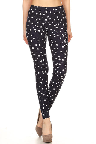Women's Regular White Little Stars Pattern Printed Leggings