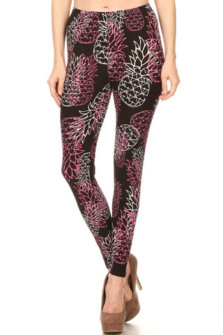 Women's Plus Wireframe Pineapple Floral Pattern Printed Leggings - Pink Black