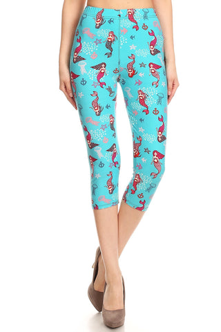 Women's Regular Red Mermaid Starfish Jellyfish Printed Cropped Capri Leggings