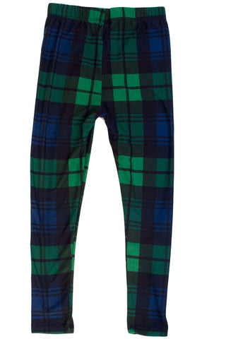 Kid's colorful Green Black Plaid Pattern Printed Leggings