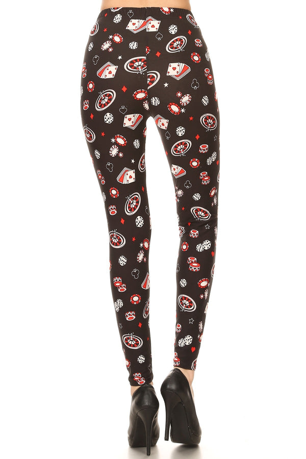Women's Plus Card Game Diceplay Pattern Printed Leggings