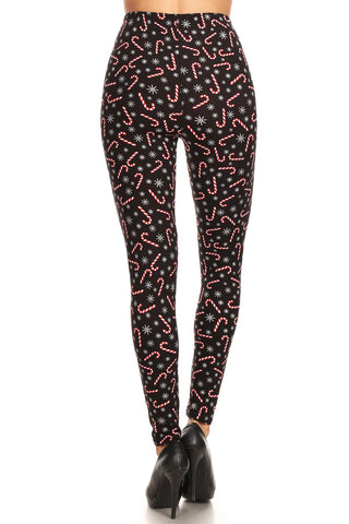 Women's Regular Candy Cane Snowflake Pattern Printed Leggings