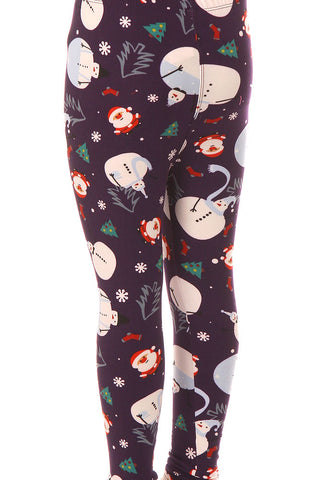 Kid's Santa Claus Snowman Pattern Printed Leggings
