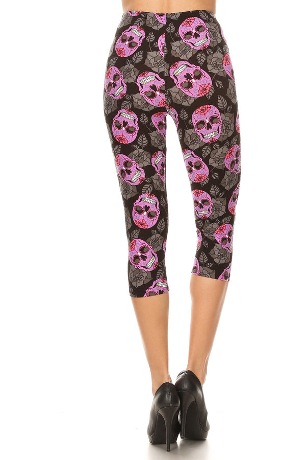 Women's Regular Purple Sugar Skull Floral Printed Cropped Capri Leggings