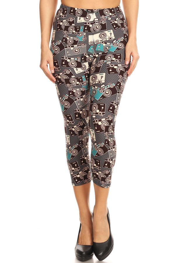Women's Regular Camera Photography Printed Cropped Capri Leggings