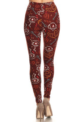 Women's Regular Coffee Tea Baguette Pattern Printed Leggings