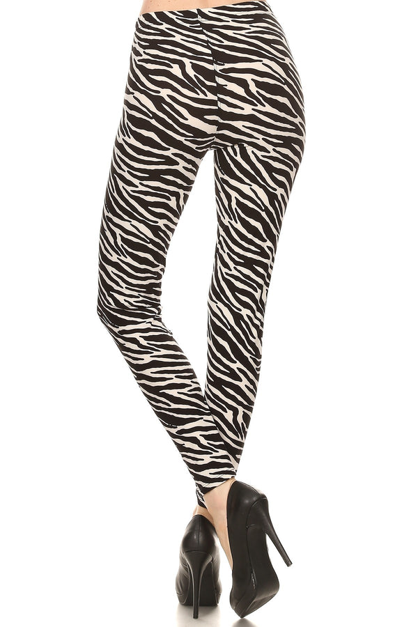 Women's 3X 5X Zebra Animal Skin Full Length Pattern Print Leggings