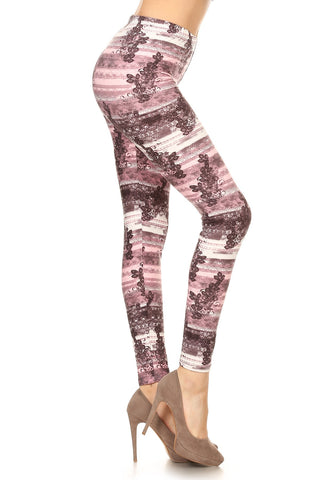 Women's Regular Floral with Border Pattern Printed Leggings