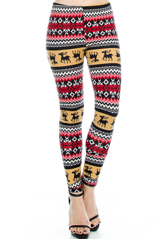 Seasonal Holiday One Size Print Leggings - Mocha Reindeer for PLUS