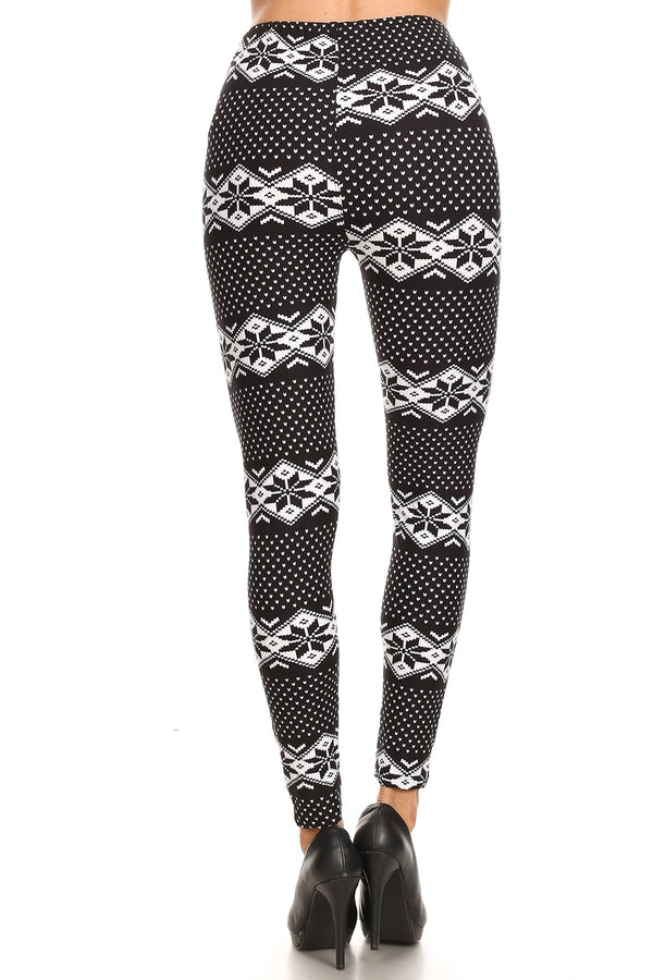 Women's Plus B&W Dianmond Fair Isle Pattern Printed Leggings