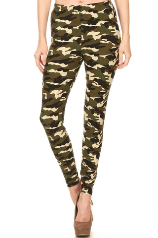 Women's Plus Camouflage Military Look Pattern Printed Leggings - Khaki Olive