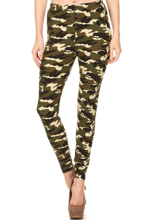 Women's Regular Camouflage Military Look Pattern Printed Leggings - Khaki Olive