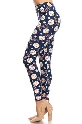 Women's Plus Baseball Ball Logo Pattern Printed Leggings