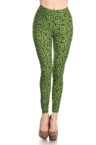 Women's Regular Green Paisley Pattern Printed Leggings