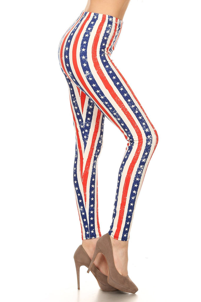 Women's Plus 4th of July Faded Star Pattern Printed Leggings