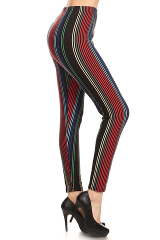 Women's Plus colorful Vertical Stripes Pattern Printed Leggings