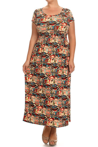 Women's Plus Short Sleeve Print Maxi Home Dresses - Indian Vessels