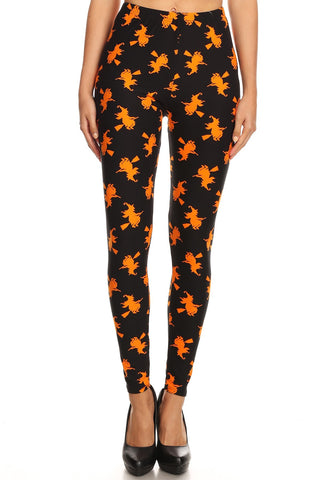 Women's 3X 5X Halloween Witch Pattern Printed Leggings