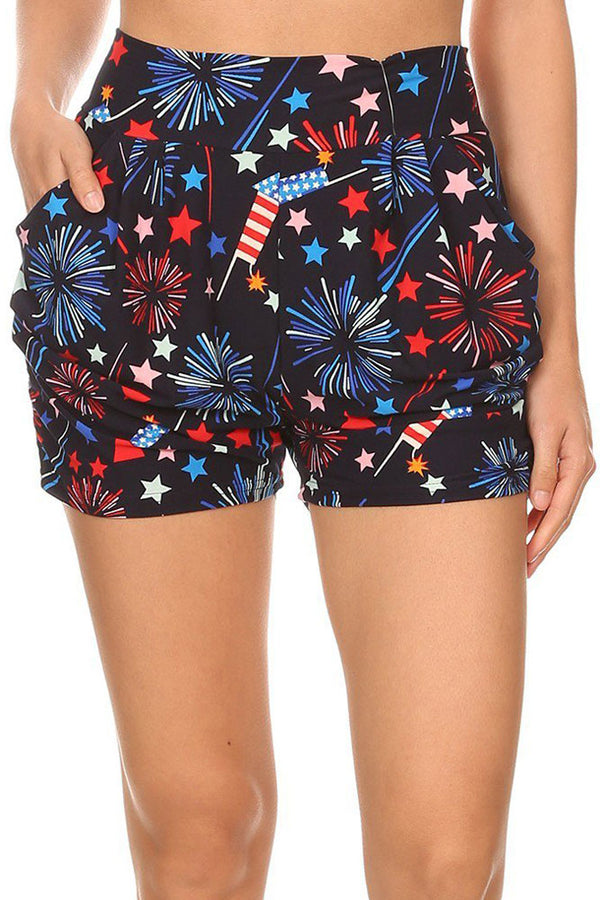 Women's Regular 4th of July Fireworks Flag Printed Pleated Pockets Harem Shorts