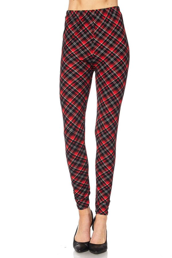 Women's Regular Christmas Plaid Red Pattern Printed Leggings