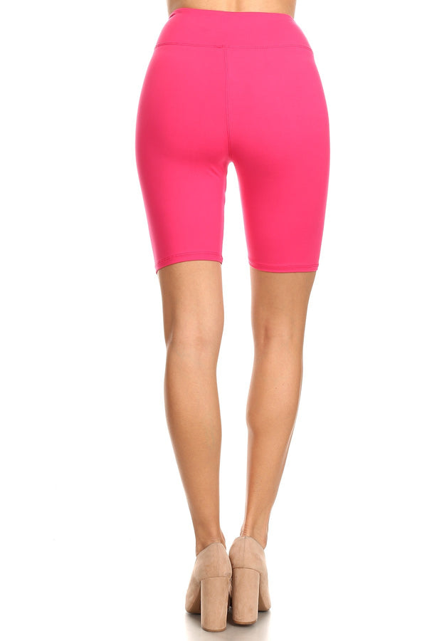 Women's Solid Active Biker Shorts with 3 Inches Yoga Band for Regular and Plus