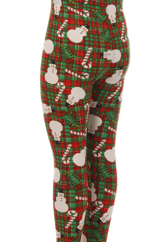 Kid's Snowman Candy Cane Plaid Pattern Printed Leggings
