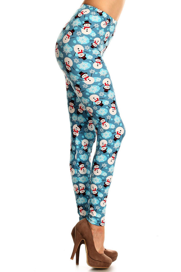 Women's Regular Snowman & Snowflakes Printed Leggings - Christmas Gift