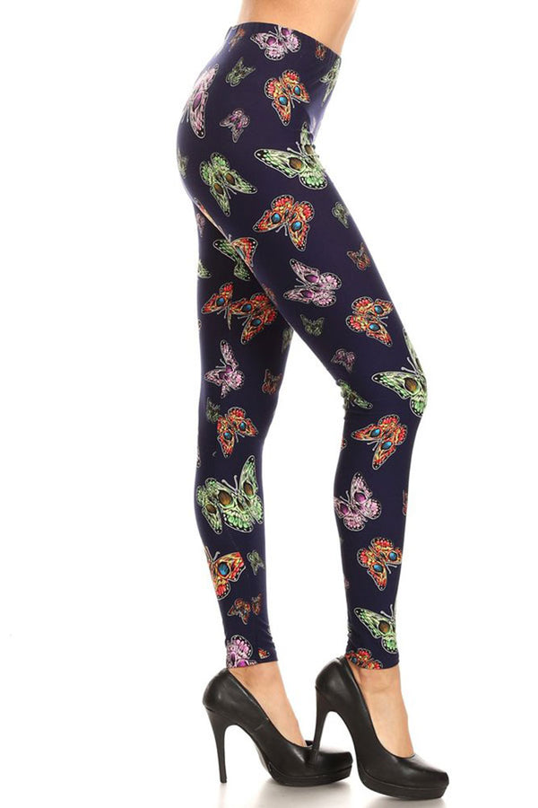 Women's Plus Colorful Butterfly Insect Pattern Printed Leggings