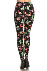 Women's Plus Flamingo Cactus Pattern Printed Leggings