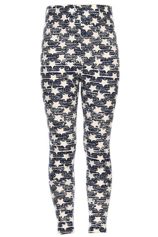 Girls White Little Stars Faded Pattern Print Leggings