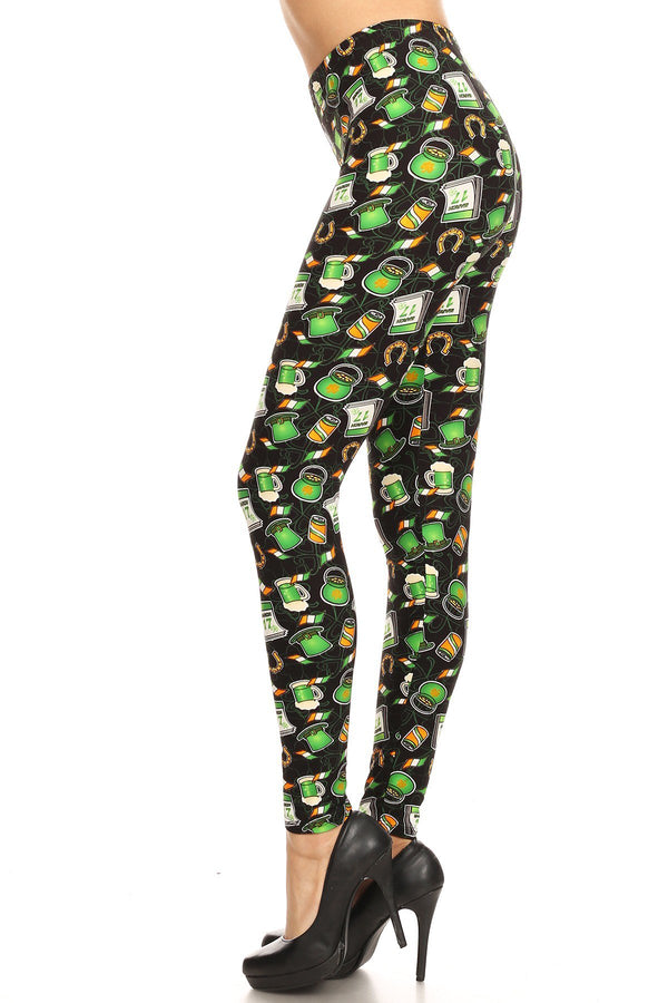 Women's 3X 5X Saint Patrick's Day Theme Pattern Printed Leggings